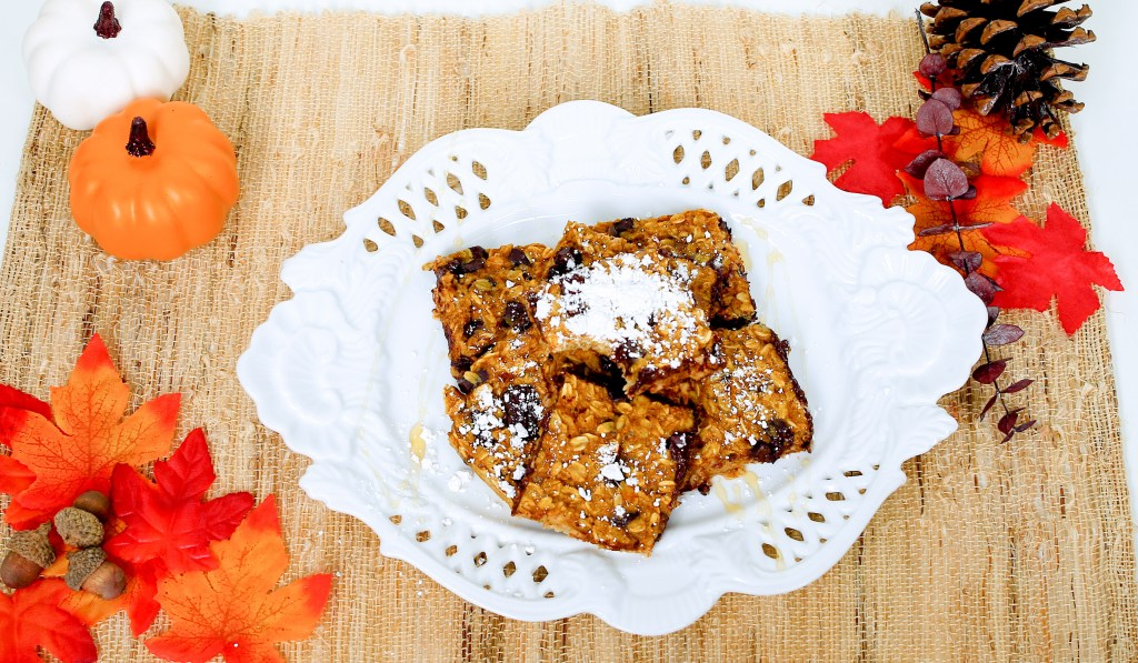 We topped our Vegan Baked Pumpkin Oat Bars with honey and powdered sugar.