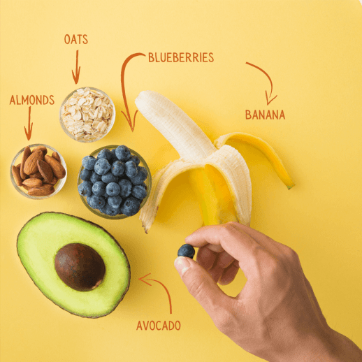 Gut.Three small bowls, an avocado, and 1 half peeled banana. There is a single hand holding a blueberry with their thumb and index finger.