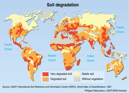 Overzicht van bodemkwaliteit over de hele wereld, goede bodems zijn niet meer gemakkelijk te vinden.