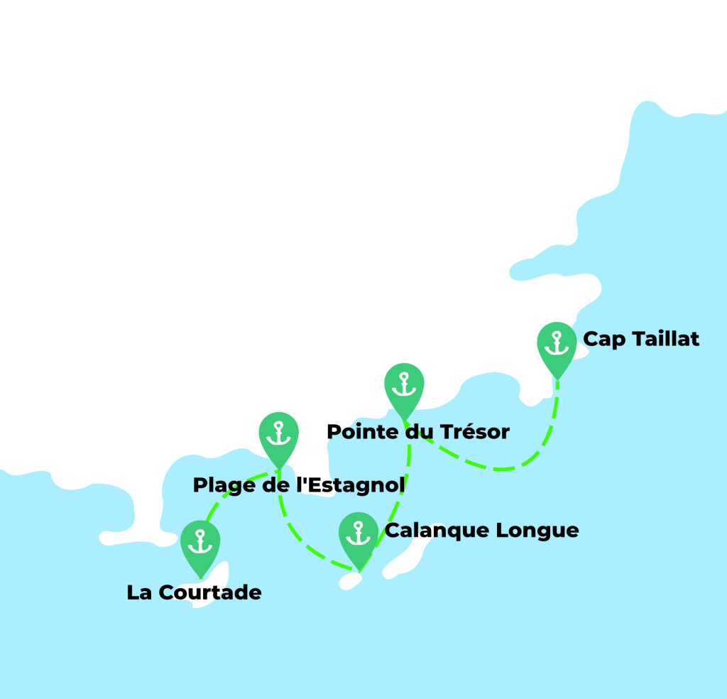 Map of the best anchorages on the French Riviera