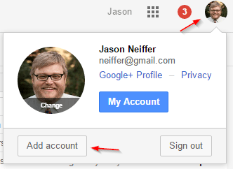 Add account in a Google interface.