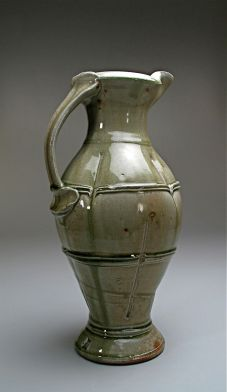 "Title: Jug Date:2010 Materials: Wood fired, ash glazed stoneware Dimensions: 18""H Photo Credit: self"