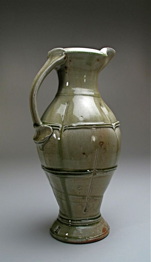 """Title: Jug Date:2010 Materials: Wood fired, ash glazed stoneware Dimensions: 18""""H Photo Credit: self"""
