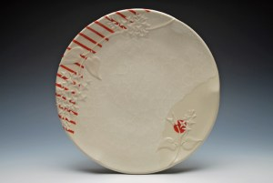 "Kristen Kieffer 10 1/2"" diameter x 1 1/2"" h, Wheel-thrown and altered porcelain with slip-sponge, underglaze, and slip-trail deco, cone 7 oxidation, 2013"