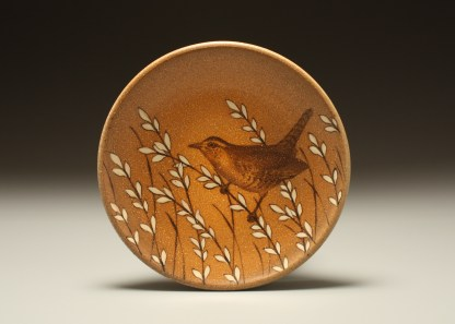 """Kyle Carpenter """"Carolina Wren Lunch Plate"""", 2014, stoneware covered in flashing slip, hand painted with underglaze. Fired in a propane fueled salt kiln. Cone 10. Diameter 8"""" x .75""""."""