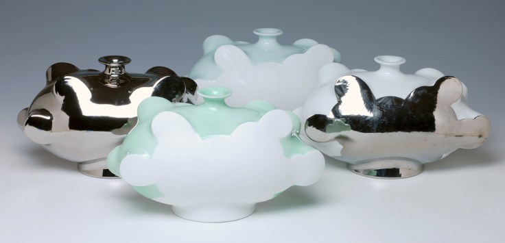 "Sam Chung, ""Cloud Bottles"" 2014, 6 x 10.5 x 5.5″."