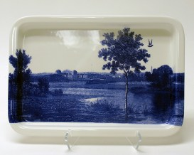 Paul Scott, Cumbrian Blue(s) American Scenery, New Jersey, 2013-4, print on Portmeirion platter, 13.5 x 9.25 x 1″