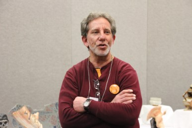 Steve Branfman in mid sentence...that's just about right. Steve is a Boston Area potter known for his Raku work and his passion for the K-12 Exhibition. His brother Gary is presenting this year!