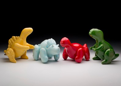 "Brett Kern - Collection of Small Inflatable Dinosaurs Ceramic Approx. 6"" x 5"" x 9"" each $115 each 2014 Ceramics Slip-Cast, Low Fire White Clay, Cone 06, Commercial Glazes and Gold Luster"