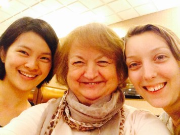 "Two of my young artists. The one from Taiwan on the left side(Bikom) was Clayworks' 15th visiting artist from a program That Ching-yuan Chang and I started in the mid 90's . Cami Ascher who has been my ""housemate"" for the last 17 months leaves for Taiwan and Ching-yuan's program on Sunday."
