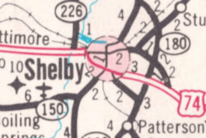 Shelby is a circle on NC highway map