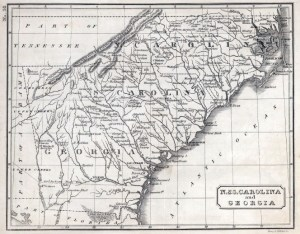 1822 map of the Carolinas and Georgia