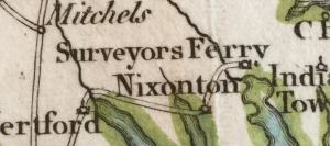 Detail showing Surveyors Ferry on Map of the Southern Provinces of the United States