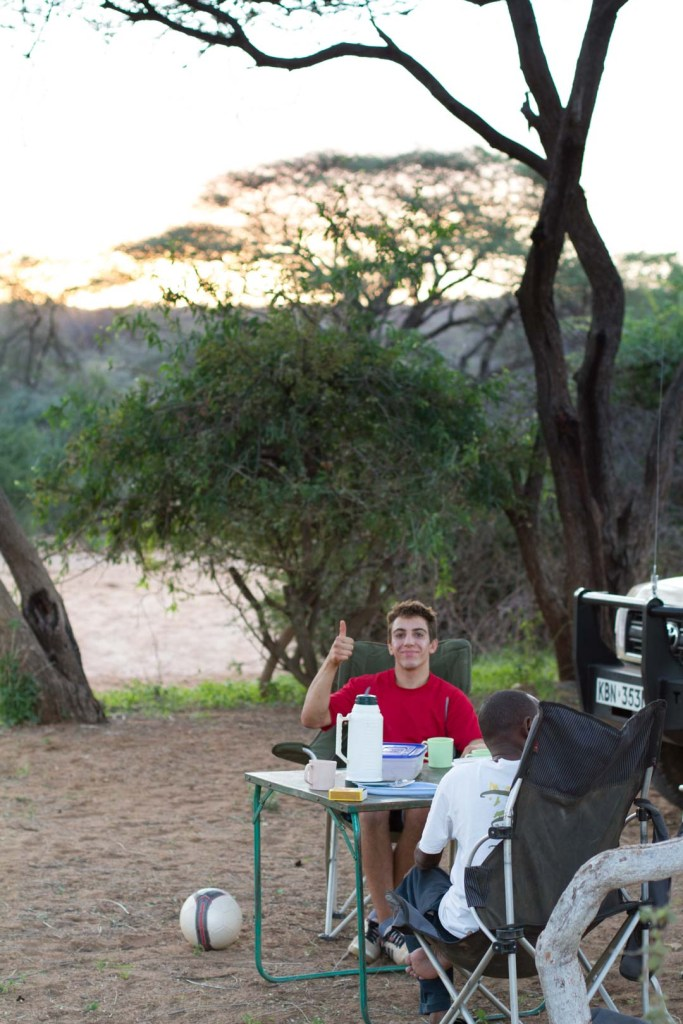 Having coffee in camp after a long day of driving, northern Kenya | Photo by Nelson Guda © 2019