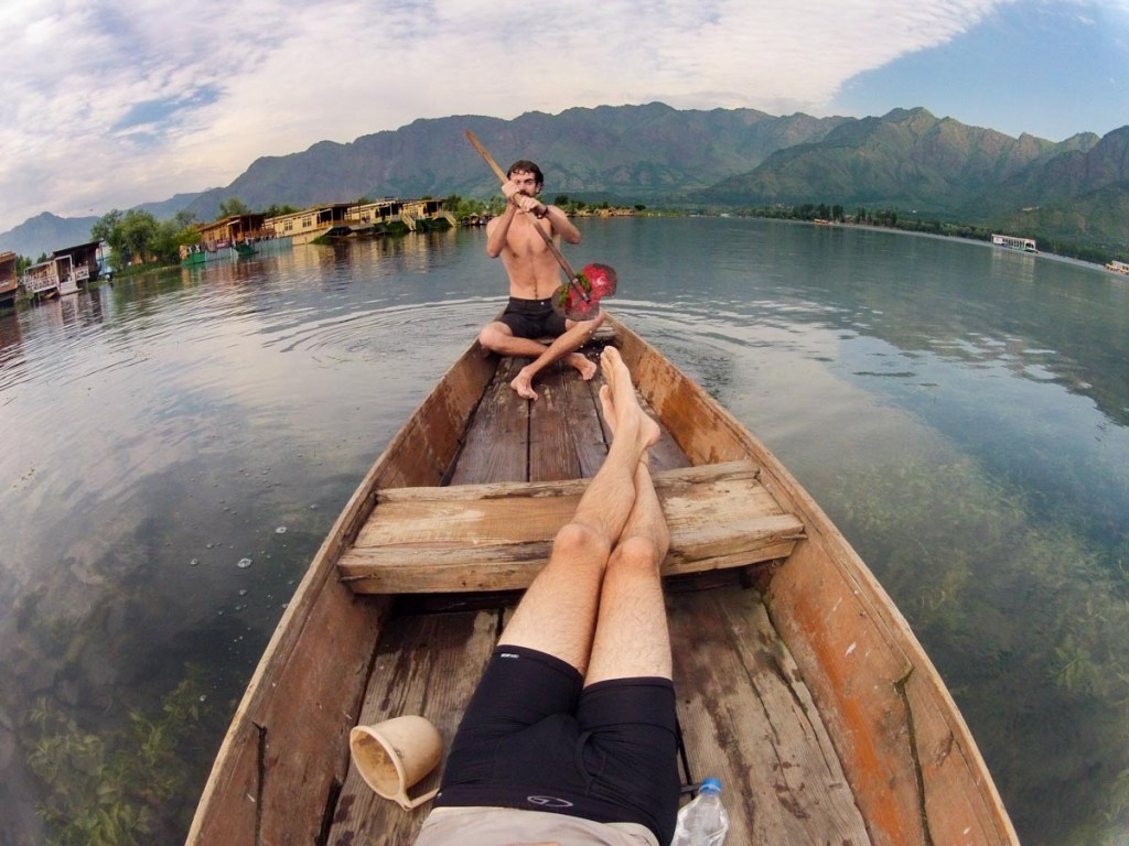 My friend Alex and I relaxing on Dal Lake in Kashmir the Dongola's canoe © Nelson Guda 2019