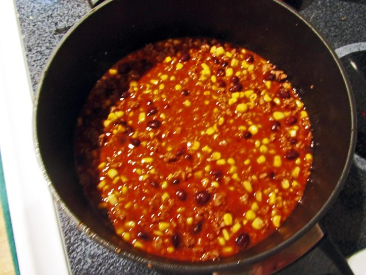 Portsmouth NH Beefy corn and black bean chili