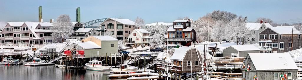 charming small town covered in snow
