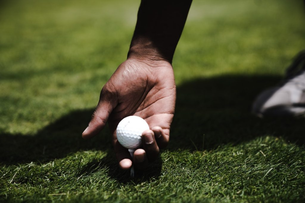 Holding a golf ball