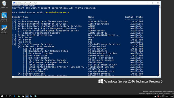 Windows Server 2016 Power Shell