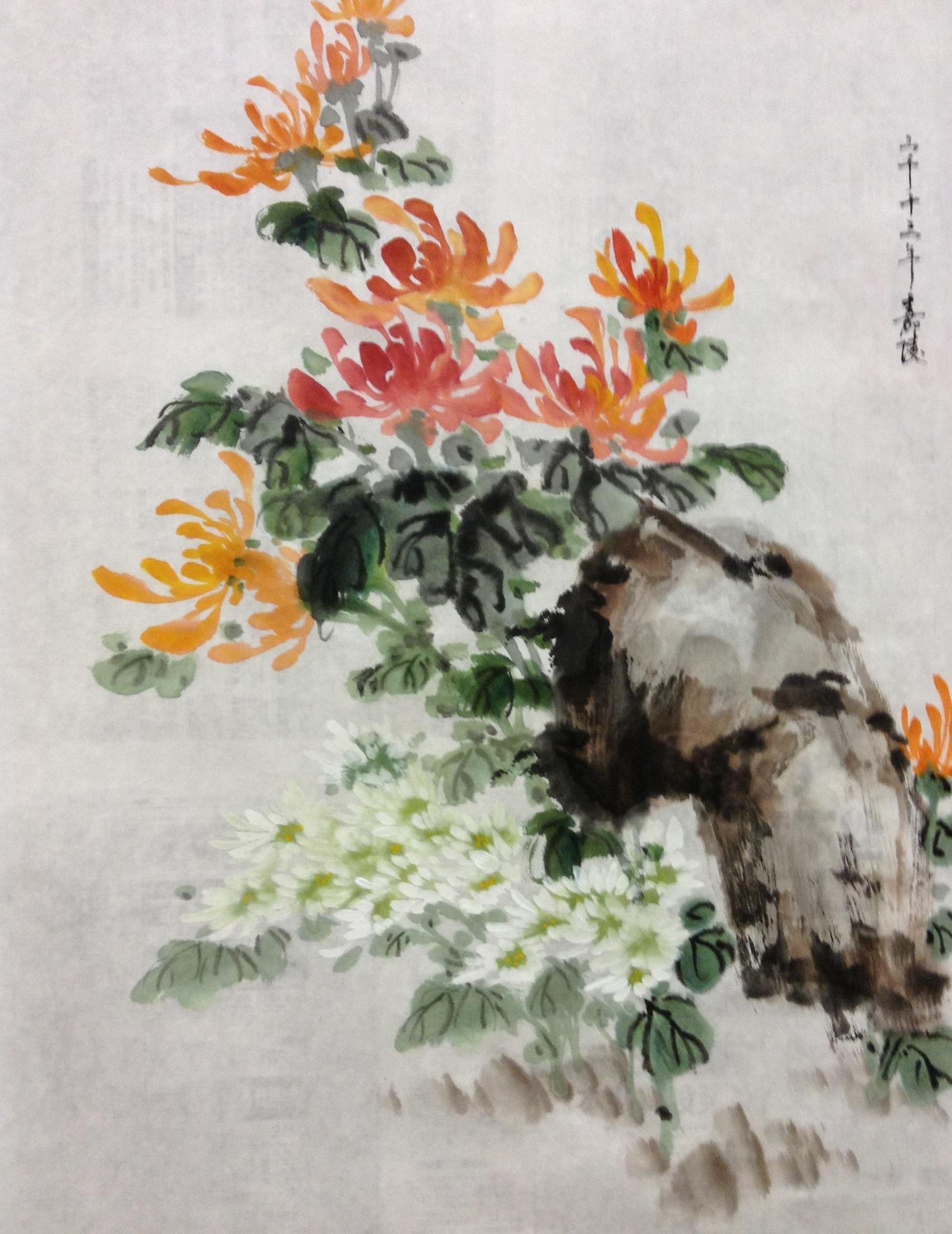 Chinese Chrysanthemum Watercolor