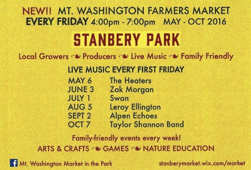 Market in the Park's summer schedule.