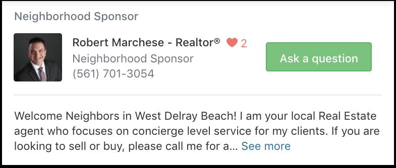 Nextdoor Neighborhood Sponsor Agent Profile Ad Example