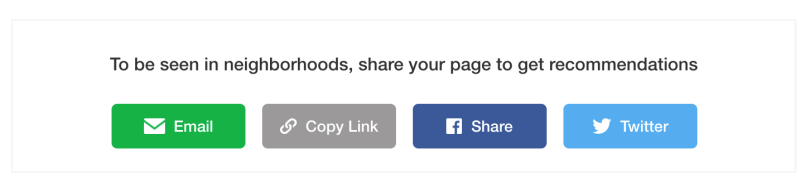 Options to share the link to your Nextdoor Business Page