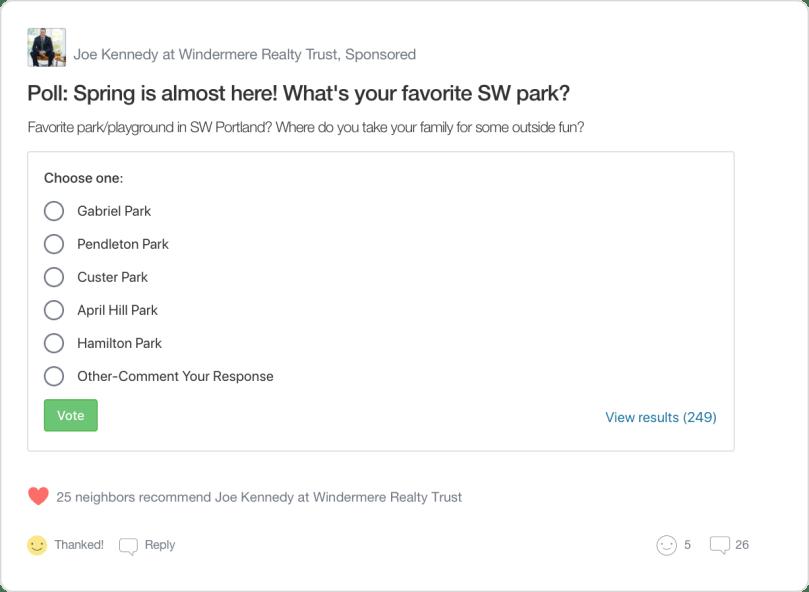 Nextdoor Neighborhood Sponsor Poll Post Example
