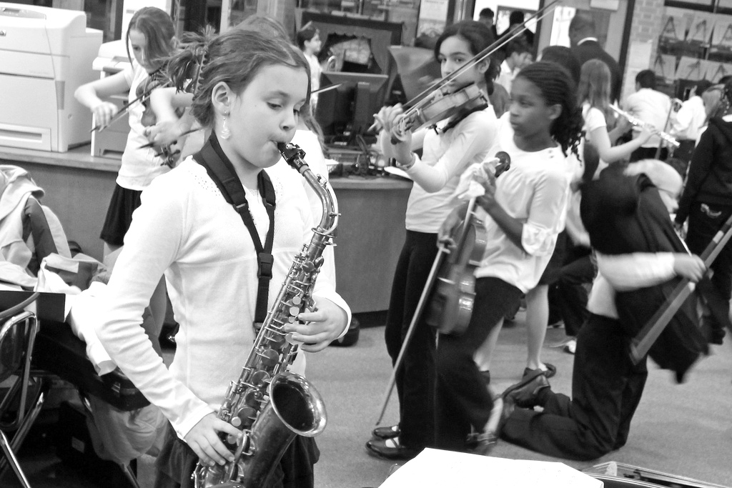 Children at music class