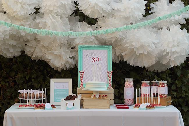 Nice Party 30 cumpleaños mint rojo mesa de dulces