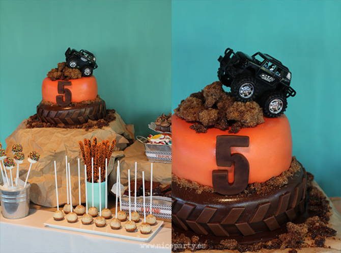 Nice-Party-mesa de dulces cumpleaños Monster truck tarta fondant