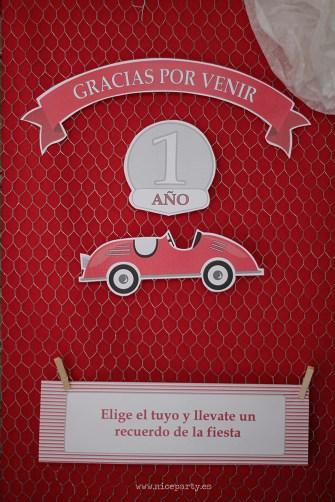 NiceParty Cumpleaños del coche rojo decoración regalos para invitados cartel