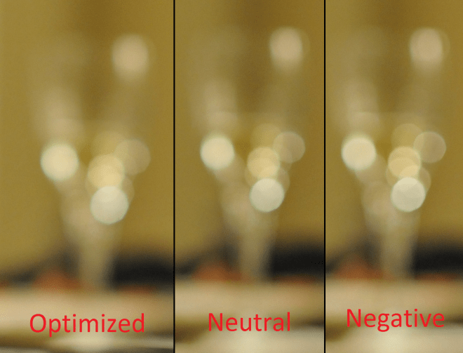 Comparison of the lens bokeh on different Defocus Image Control settings