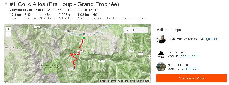 Segment Strava 1 Col d Allos Pra Loup Grand Trophée