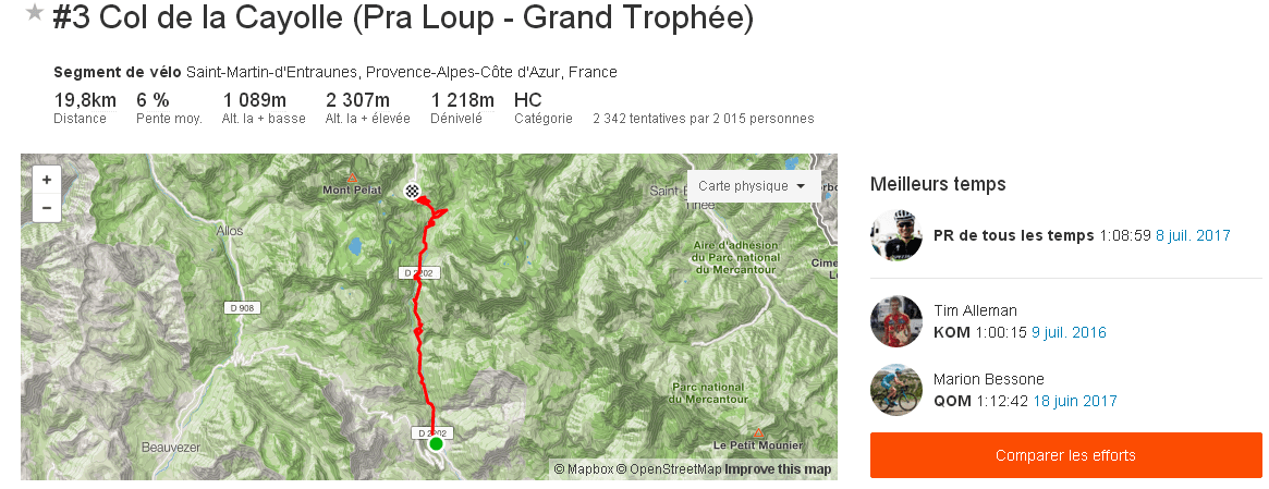 Segment Strava 3 Col de la Cayolle Pra Loup Grand Trophée