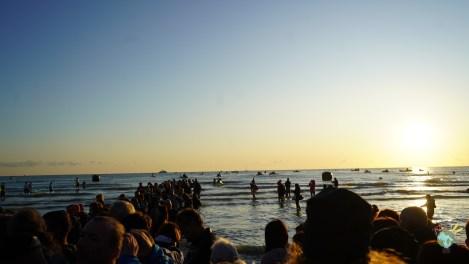 départ de la natation en mer adriatique ironman italy