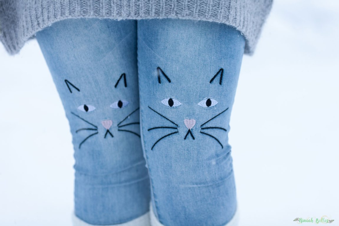 mode, tenue, look, hygge, chat, broderie, jean brodée, cocooning, neige, hiver, look d'hiver, grande taille, ronde, curvy, uniqlo, hi-tech, warm and cosy, ninaah bulles, rosegale