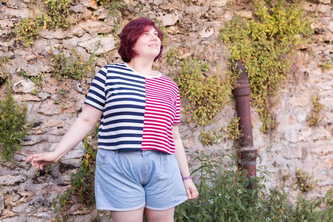 #JePorteCeQuiMePlait, shein, grande taille, curvy, plussize, short, rayure, ninaah bulles, blogeuse, mode
