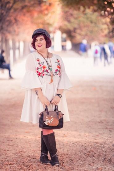 ninaah bulles, shein, grande taille, plus size, folk, romantique, outfit, blog grande taille, blogeuse grande taille, automne, look d'automne, bottes mollet larges