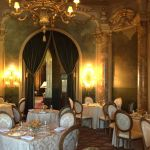 view post PALM BEACH, FLORIDA - NOVEMBER 1: Elaborate gold dining room in