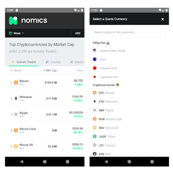 Nomics Android app