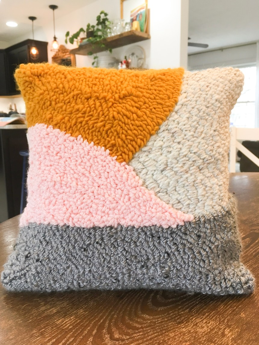 Finished DIY punch needle pillow