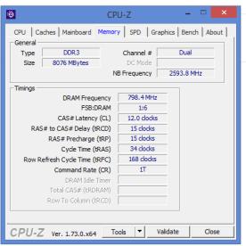 CPU Z - Arbeitsspeicher