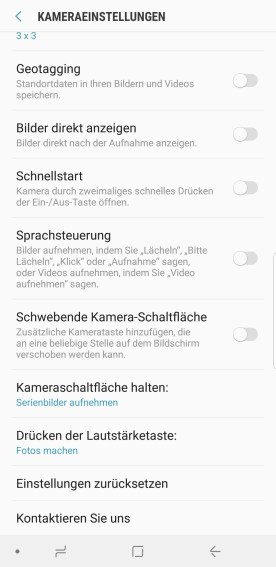 Einstellungen Kamera Samsung Galaxy S9 Plus
