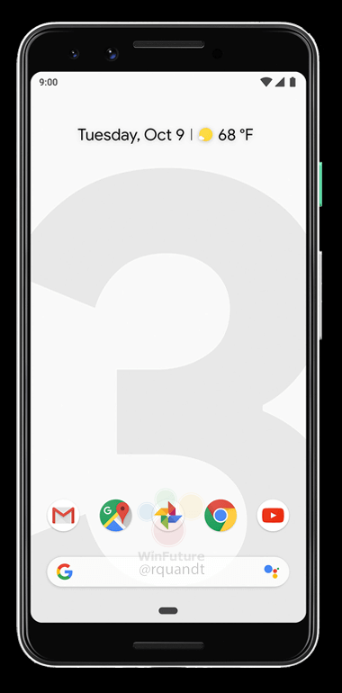 Ohne Notch: Google Pixel 3 Quelle: WinFuture/@rquandt