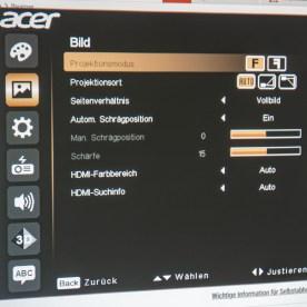 Acer X1623H Menü 2