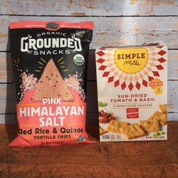 Picture of a box of Simple Mills Sun-Dried Tomato and Basil Crackers and a Bag of Pink Himalayan Sea Salt, Red Rice & Quinoa Tortilla Chips.