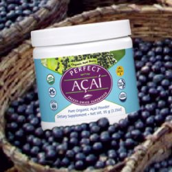 A picture of Perfect Acai powder on a background of acai berries in baskets.