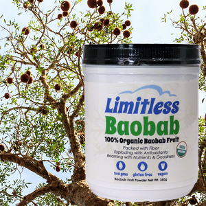 Picture of Limitless Good Baobab Powder on a background that is a baobab tree.