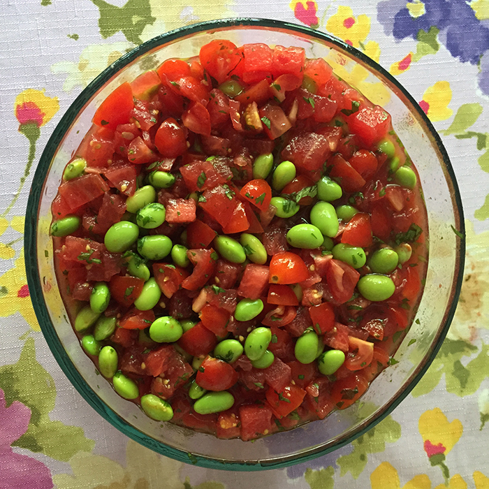 tomato watermelon edamame salad is keto and paleo friendly and will delight everyone's taste buds at your next BBQ